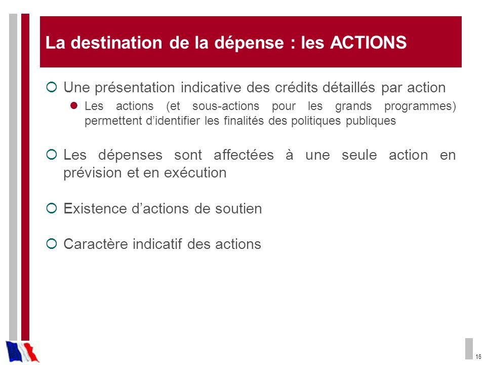 16 La destination de la dépense : les ACTIONS Une présentation indicative des crédits détaillés par action Les actions (et sous-actions pour les grand