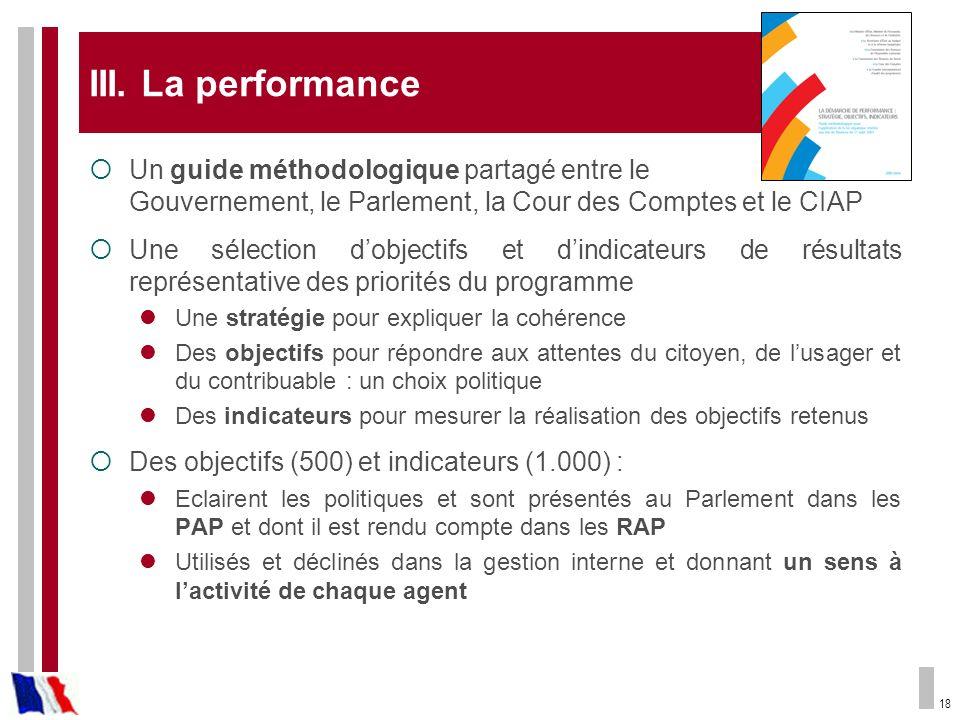 18 III. La performance Un guide méthodologique partagé entre le Gouvernement, le Parlement, la Cour des Comptes et le CIAP Une sélection dobjectifs et