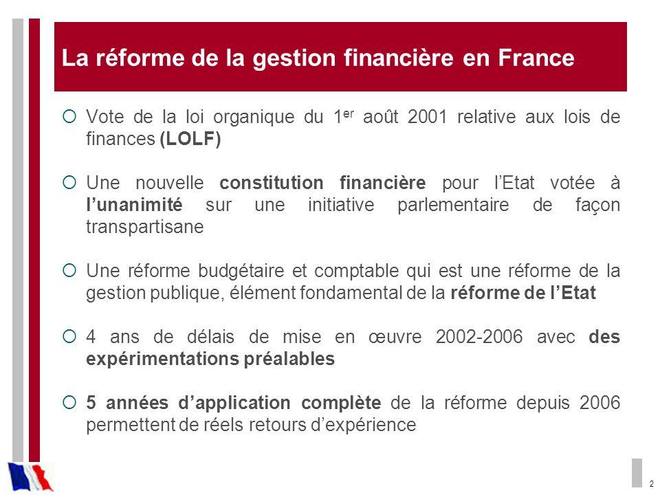 2 La réforme de la gestion financière en France Vote de la loi organique du 1 er août 2001 relative aux lois de finances (LOLF) Une nouvelle constitut