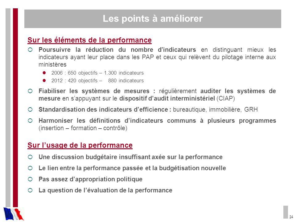 24 Sur les éléments de la performance Poursuivre la réduction du nombre dindicateurs en distinguant mieux les indicateurs ayant leur place dans les PA