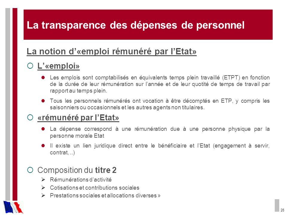 26 La transparence des dépenses de personnel La notion d«emploi rémunéré par lEtat» L«emploi» Les emplois sont comptabilisés en équivalents temps plei