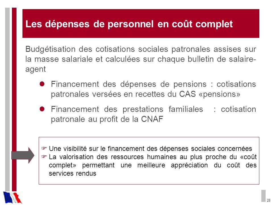 28 Une visibilité sur le financement des dépenses sociales concernées La valorisation des ressources humaines au plus proche du «coût complet» permett