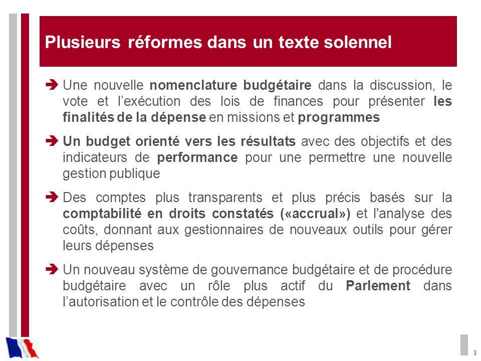 3 Plusieurs réformes dans un texte solennel Une nouvelle nomenclature budgétaire dans la discussion, le vote et lexécution des lois de finances pour p