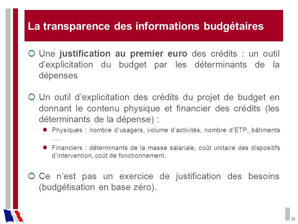 30 La transparence des informations budgétaires Une justification au premier euro des crédits : un outil dexplicitation du budget par les déterminants