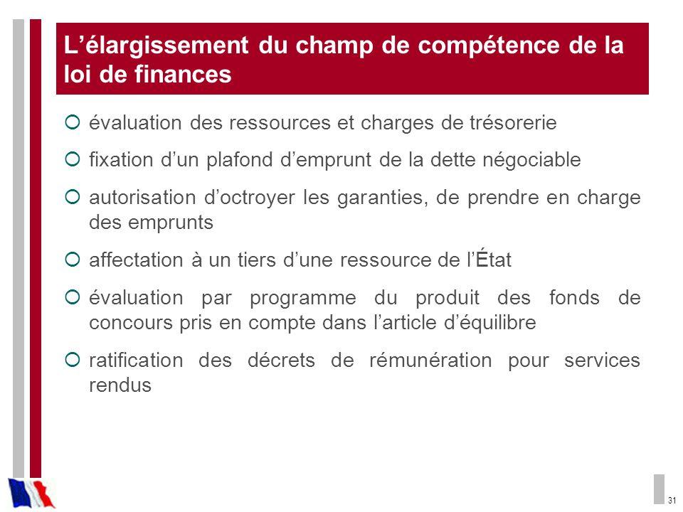 31 Lélargissement du champ de compétence de la loi de finances évaluation des ressources et charges de trésorerie fixation dun plafond demprunt de la