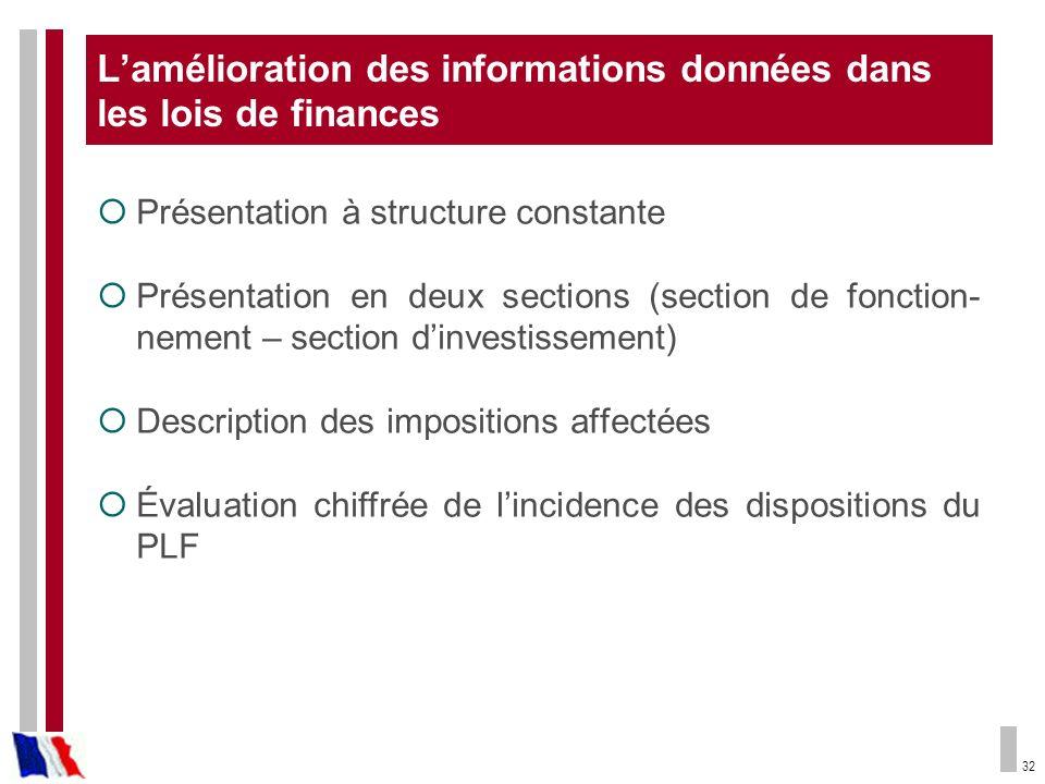 32 Lamélioration des informations données dans les lois de finances Présentation à structure constante Présentation en deux sections (section de fonct