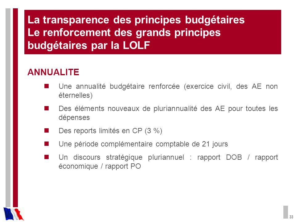 33 La transparence des principes budgétaires Le renforcement des grands principes budgétaires par la LOLF ANNUALITE Une annualité budgétaire renforcée