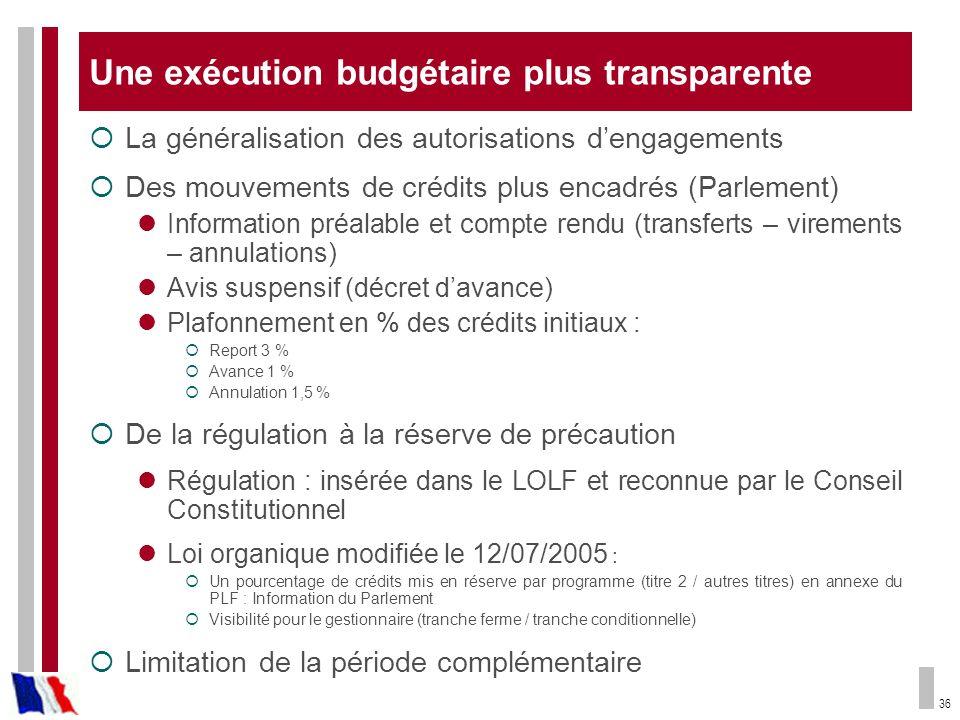 36 Une exécution budgétaire plus transparente La généralisation des autorisations dengagements Des mouvements de crédits plus encadrés (Parlement) Inf