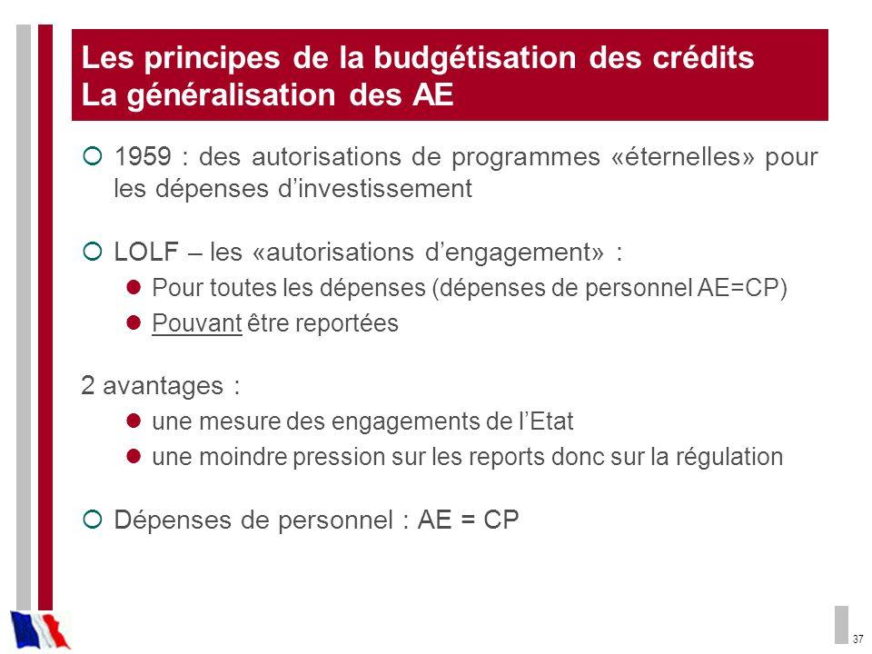 37 Les principes de la budgétisation des crédits La généralisation des AE 1959 : des autorisations de programmes «éternelles» pour les dépenses dinves