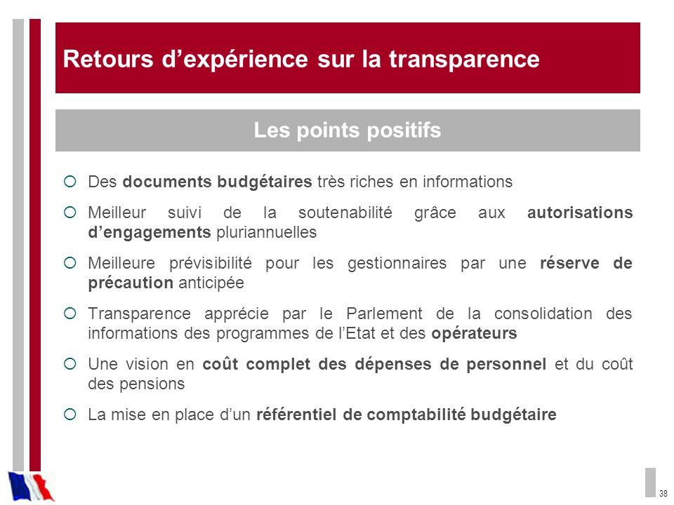 38 Retours dexpérience sur la transparence Des documents budgétaires très riches en informations Meilleur suivi de la soutenabilité grâce aux autorisa