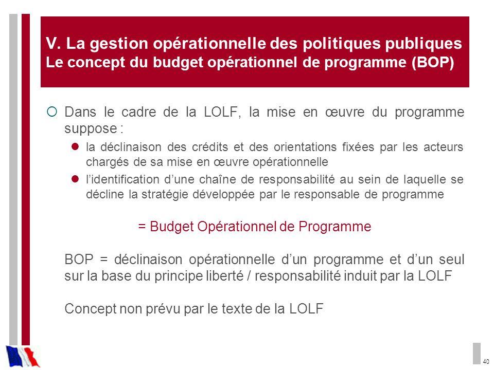 40 V. La gestion opérationnelle des politiques publiques Le concept du budget opérationnel de programme (BOP) Dans le cadre de la LOLF, la mise en œuv