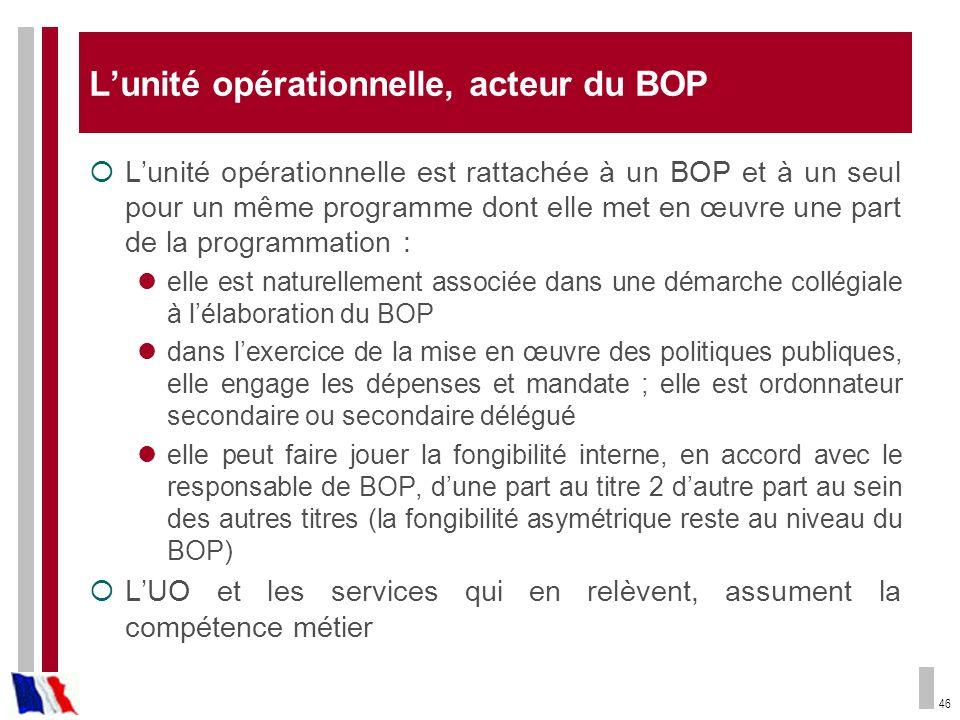 46 Lunité opérationnelle, acteur du BOP Lunité opérationnelle est rattachée à un BOP et à un seul pour un même programme dont elle met en œuvre une pa