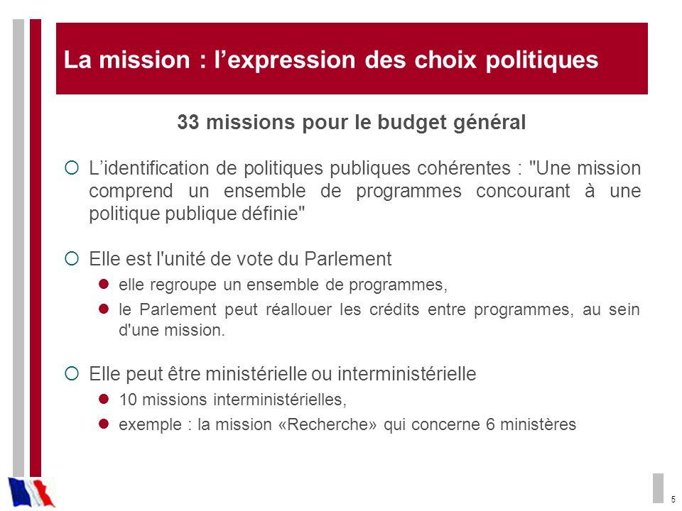 5 La mission : lexpression des choix politiques 33 missions pour le budget général Lidentification de politiques publiques cohérentes :