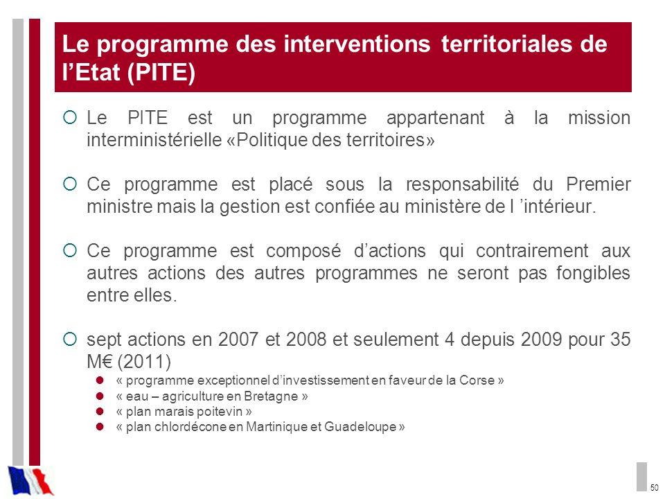 50 Le programme des interventions territoriales de lEtat (PITE) Le PITE est un programme appartenant à la mission interministérielle «Politique des te