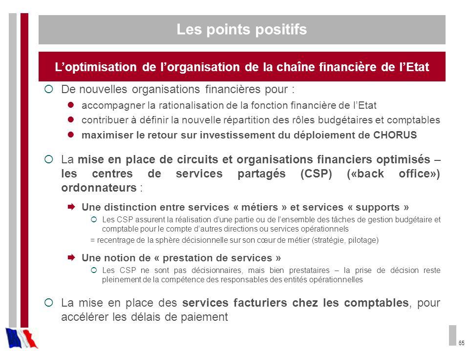 65 De nouvelles organisations financières pour : accompagner la rationalisation de la fonction financière de lEtat contribuer à définir la nouvelle ré