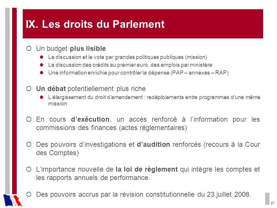 67 IX. Les droits du Parlement Un budget plus lisible La discussion et le vote par grandes politiques publiques (mission) La discussion des crédits au