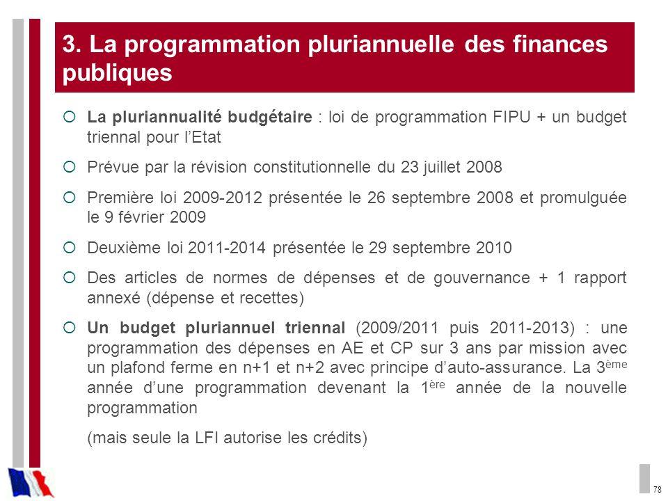 78 3. La programmation pluriannuelle des finances publiques La pluriannualité budgétaire : loi de programmation FIPU + un budget triennal pour lEtat P