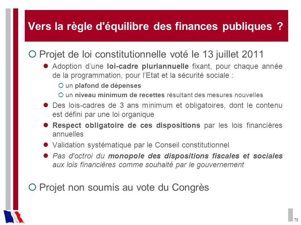 79 Vers la règle d'équilibre des finances publiques ? Projet de loi constitutionnelle voté le 13 juillet 2011 Adoption dune loi-cadre pluriannuelle fi