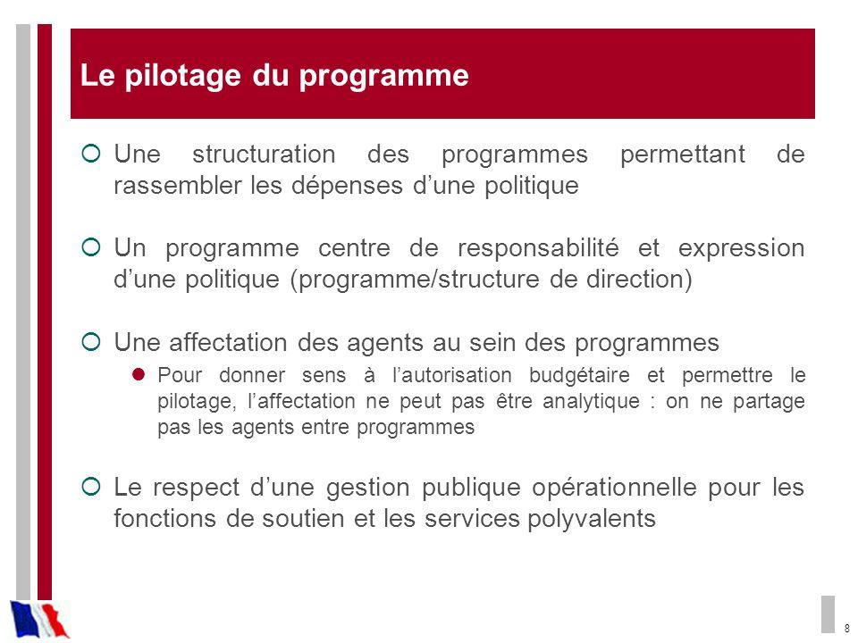 8 Le pilotage du programme Une structuration des programmes permettant de rassembler les dépenses dune politique Un programme centre de responsabilité