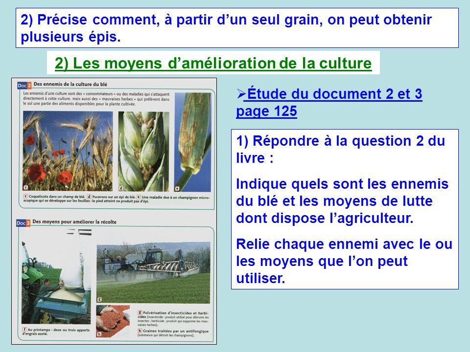 2) Précise comment, à partir dun seul grain, on peut obtenir plusieurs épis. 2) Les moyens damélioration de la culture 1) Répondre à la question 2 du