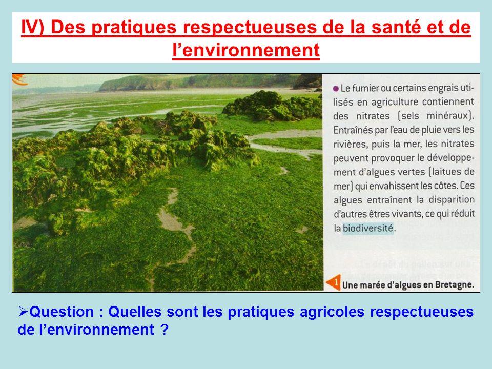 IV) Des pratiques respectueuses de la santé et de lenvironnement Question : Quelles sont les pratiques agricoles respectueuses de lenvironnement ?