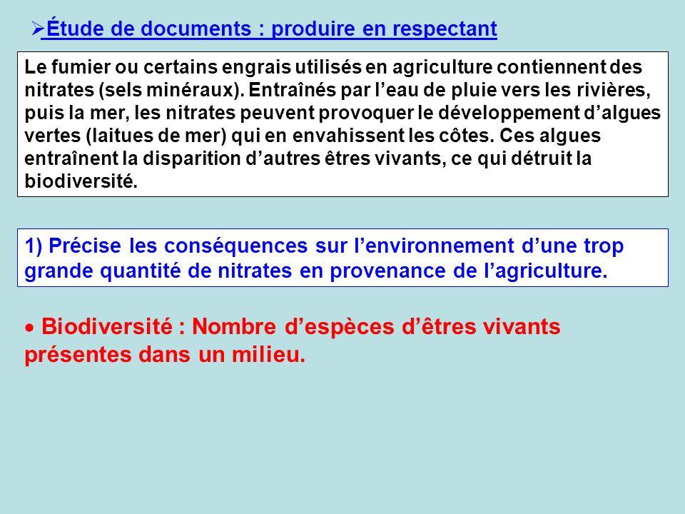 Étude de documents : produire en respectant Le fumier ou certains engrais utilisés en agriculture contiennent des nitrates (sels minéraux). Entraînés