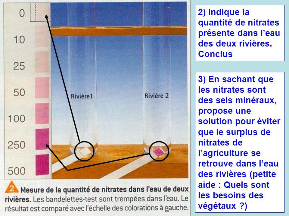 2) Indique la quantité de nitrates présente dans leau des deux rivières. Conclus 3) En sachant que les nitrates sont des sels minéraux, propose une so