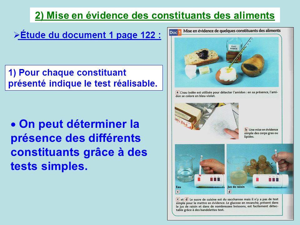 2) Mise en évidence des constituants des aliments Étude du document 1 page 122 : 1) Pour chaque constituant présenté indique le test réalisable. On pe