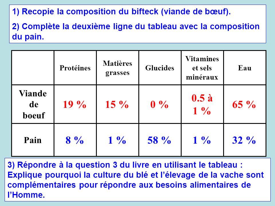 1) Recopie la composition du bifteck (viande de bœuf). 2) Complète la deuxième ligne du tableau avec la composition du pain. 32 %1 %58 %1 %8 % Pain 65