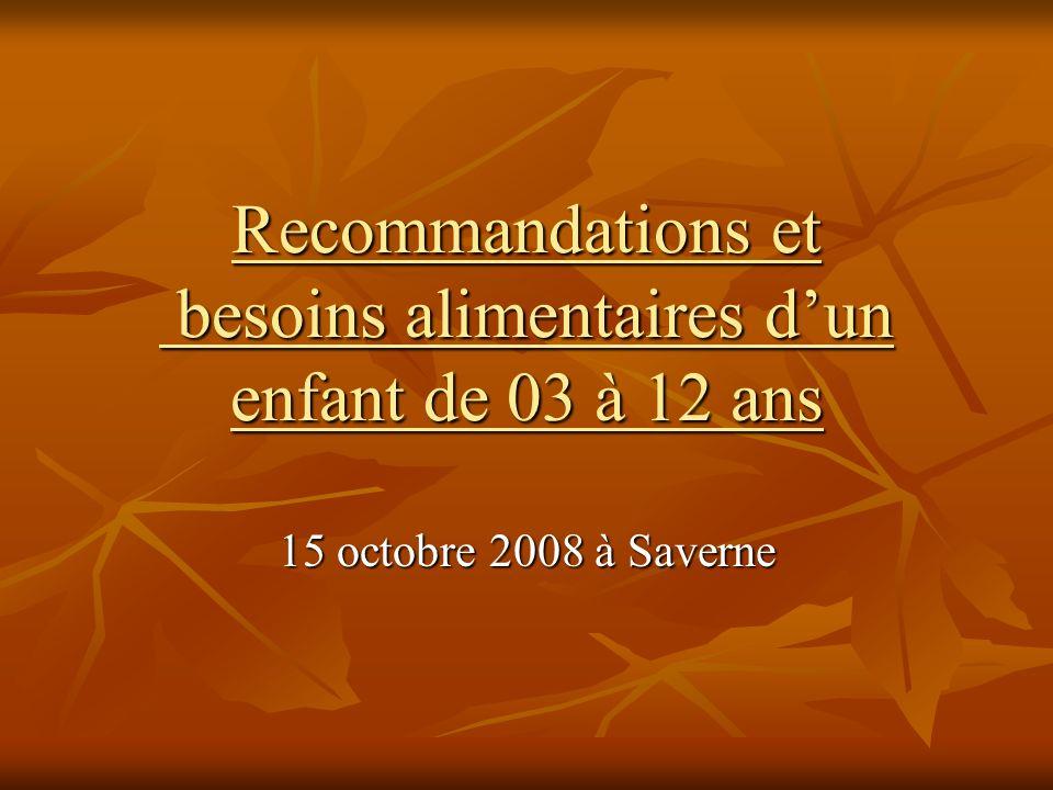 Recommandations et besoins alimentaires dun enfant de 03 à 12 ans 15 octobre 2008 à Saverne