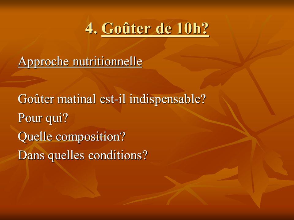 4. Goûter de 10h? Approche nutritionnelle Goûter matinal est-il indispensable? Pour qui? Quelle composition? Dans quelles conditions?