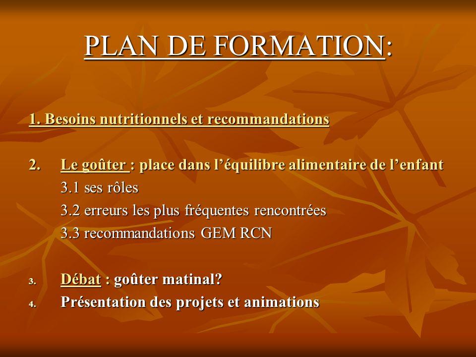 PLAN DE FORMATION: 1. Besoins nutritionnels et recommandations 2. Le goûter : place dans léquilibre alimentaire de lenfant 2. Le goûter : place dans l