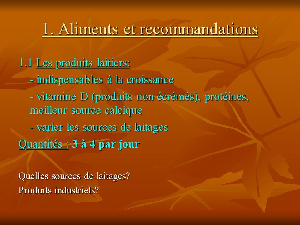 1. Aliments et recommandations 1.1 Les produits laitiers: - indispensables à la croissance - vitamine D (produits non écrémés), protéines, meilleur so
