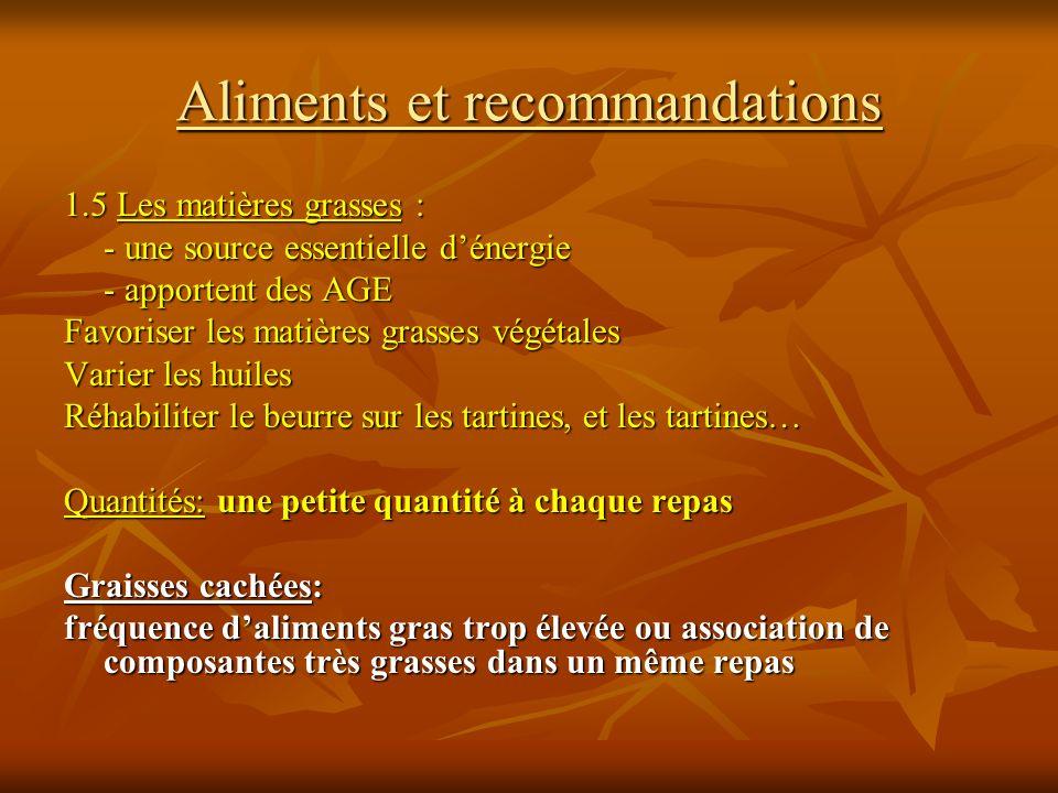 Aliments et recommandations 1.5 Les matières grasses : - une source essentielle dénergie - apportent des AGE Favoriser les matières grasses végétales