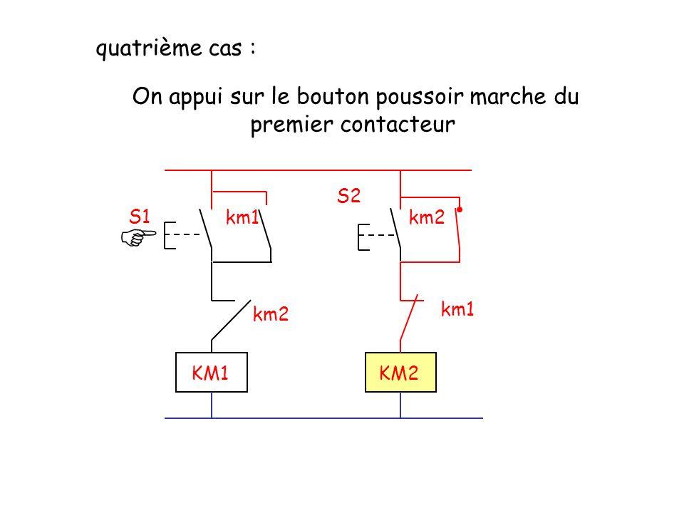 S2 S1 km2km1 km2 KM1KM2 quatrième cas : On appui sur le bouton poussoir marche du premier contacteur