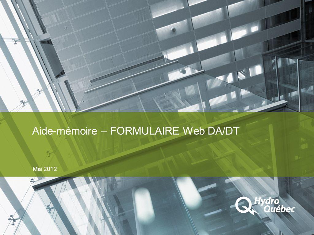Aide-mémoire – FORMULAIRE Web DA/DT Mai 2012
