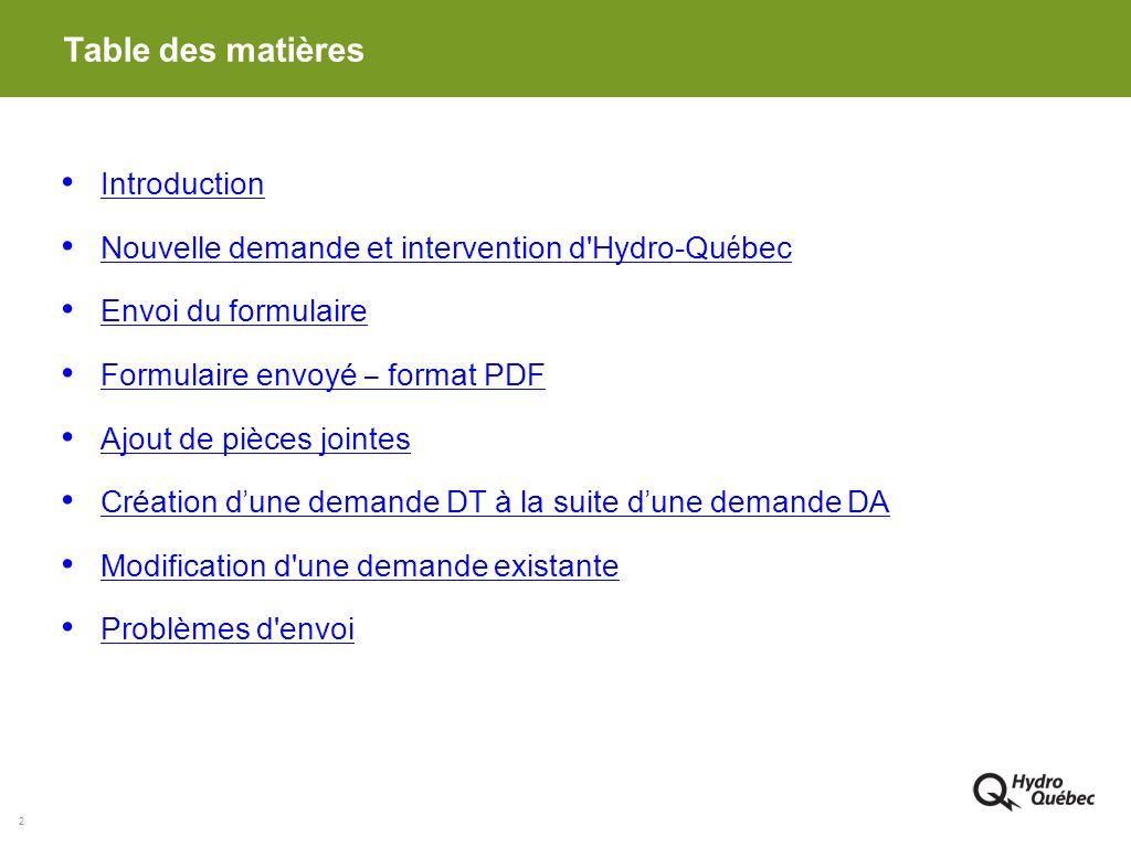 2 Table des matières Introduction Nouvelle demande et intervention d'Hydro-Qu é bec Nouvelle demande et intervention d'Hydro-Qu é bec Envoi du formula
