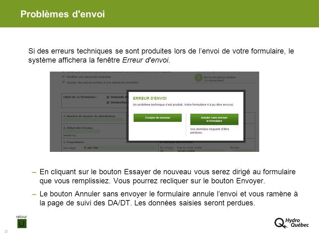 20 Problèmes d'envoi Si des erreurs techniques se sont produites lors de lenvoi de votre formulaire, le système affichera la fenêtre Erreur d'envoi. –