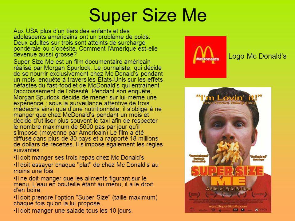 Super Size Me Aux USA plus d un tiers des enfants et des adolescents américains ont un problème de poids.
