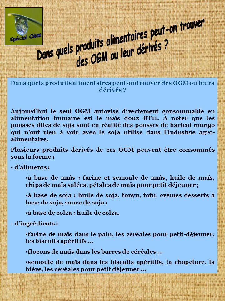 Dans quels produits alimentaires peut-on trouver des OGM ou leurs dérivés ? Aujourd'hui le seul OGM autorisé directement consommable en alimentation h