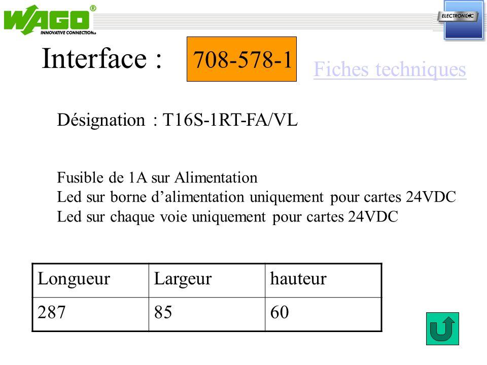 708-578-1 Désignation : T16S-1RT-FA/VL Interface : Fusible de 1A sur Alimentation Led sur borne dalimentation uniquement pour cartes 24VDC Led sur cha