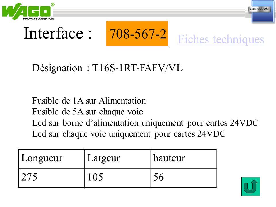 708-567-2 Désignation : T16S-1RT-FAFV/VL Interface : Fusible de 1A sur Alimentation Fusible de 5A sur chaque voie Led sur borne dalimentation uniqueme