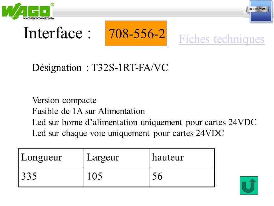 708-556-2 Désignation : T32S-1RT-FA/VC Interface : Version compacte Fusible de 1A sur Alimentation Led sur borne dalimentation uniquement pour cartes