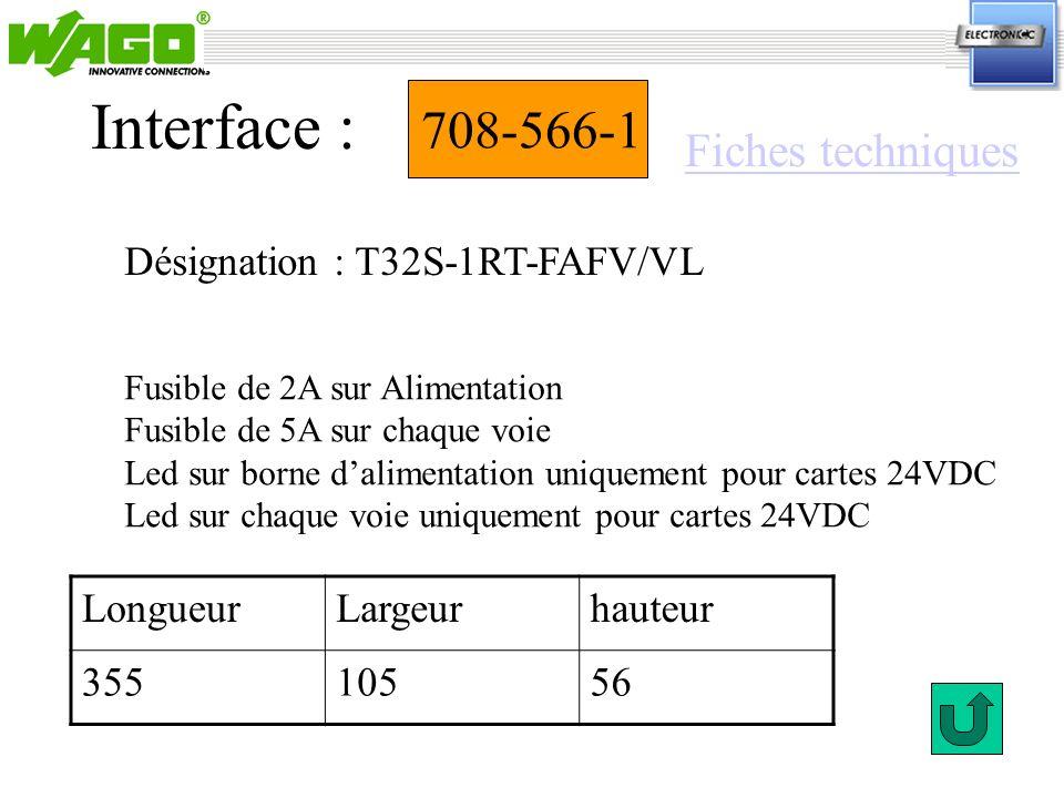 708-566-1 Désignation : T32S-1RT-FAFV/VL Interface : Fusible de 2A sur Alimentation Fusible de 5A sur chaque voie Led sur borne dalimentation uniqueme
