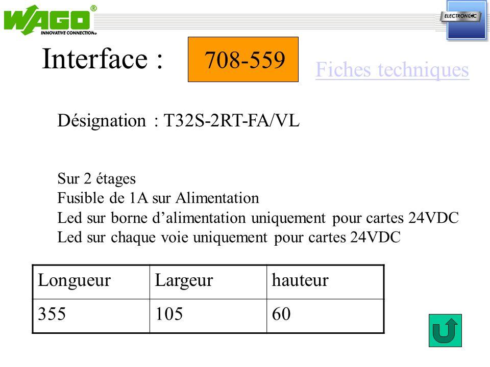 708-559 Désignation : T32S-2RT-FA/VL Interface : Sur 2 étages Fusible de 1A sur Alimentation Led sur borne dalimentation uniquement pour cartes 24VDC
