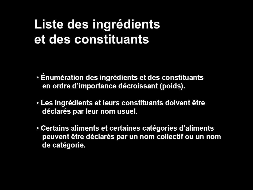 Liste des ingrédients et des constituants Énumération des ingrédients et des constituants en ordre dimportance décroissant (poids). Les ingrédients et