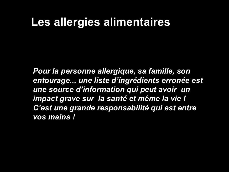 Les allergies alimentaires Pour la personne allergique, sa famille, son entourage... une liste dingrédients erronée est une source dinformation qui pe