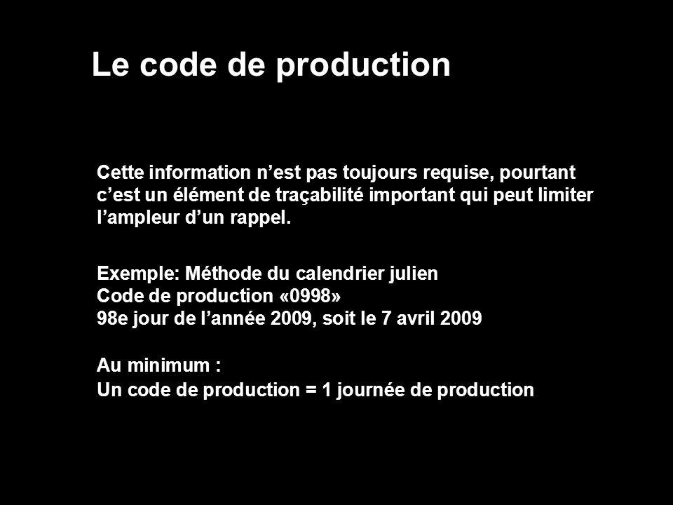 Le code de production Cette information nest pas toujours requise, pourtant cest un élément de traçabilité important qui peut limiter lampleur dun rap