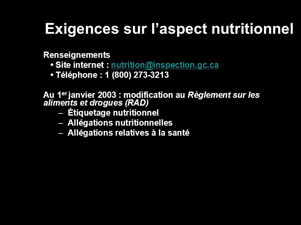 Exigences sur laspect nutritionnel Renseignements Site internet : nutrition@inspection.gc.canutrition@inspection.gc.ca Téléphone : 1 (800) 273-3213 Au