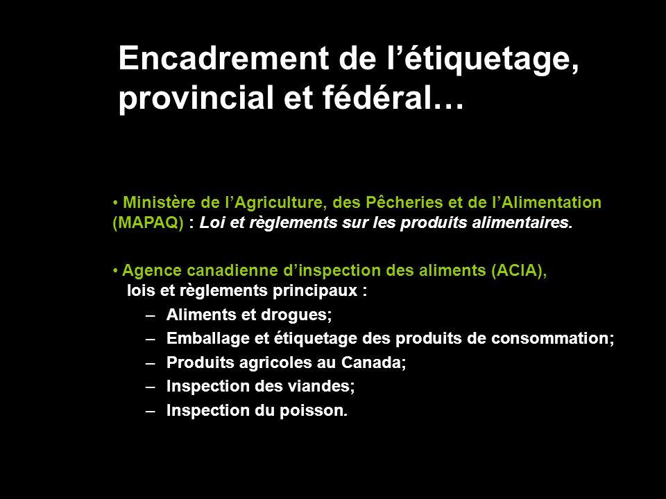 Encadrement de létiquetage, provincial et fédéral… Ministère de lAgriculture, des Pêcheries et de lAlimentation (MAPAQ) : Loi et règlements sur les pr